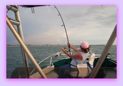 Sharon with a Tarpon on the line.